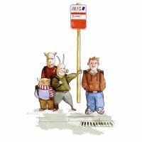 Children at the bus stop: Educative illustration
